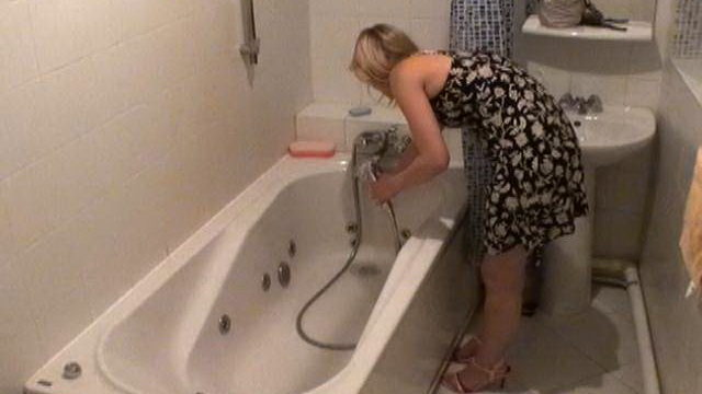 Angelic Blonde Novice Voyeur Cutie Marina Washing Pussy Cat In Tub Bath Within The Undercover Agent Digital Camera
