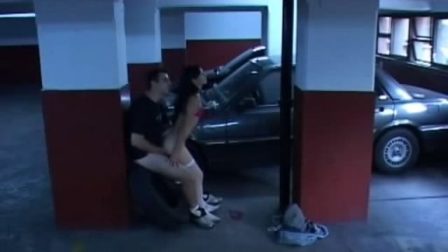 Brunette Daughter In White Stockings Popped Within The Storage!
