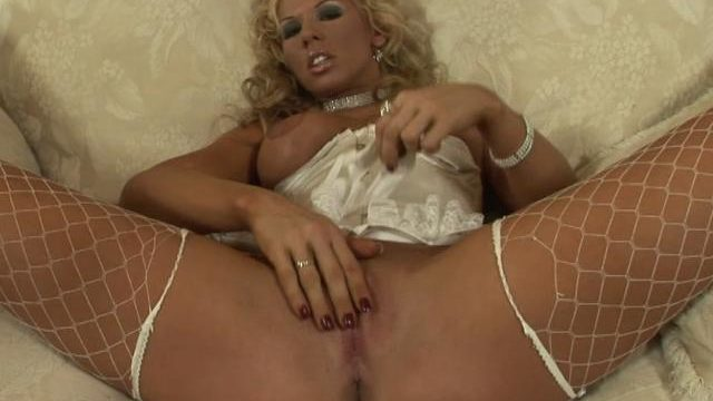 Busty Blonde Czech Honey In Fishnets Rubbing Her Rainy Beef Curtains
