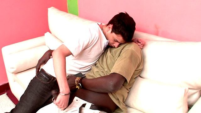 Wonderful Brunette Homosexual Naza Giving Handjob To Canu's Not Possible Black Baby-maker At The Sofa