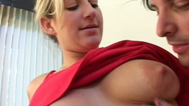 Large Titted Blond Newbie Stacy Will Get Pussy Fingered Thru Purple Panties