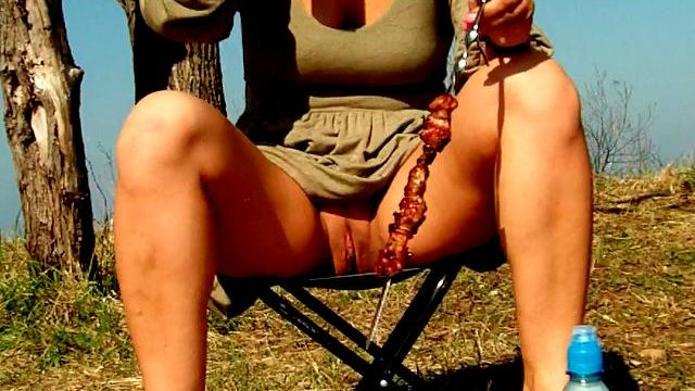Attractive Brunette Newbie Spouse Dasha Flashing Pink Quim Upskirt And Consuming Beer At A Picnic