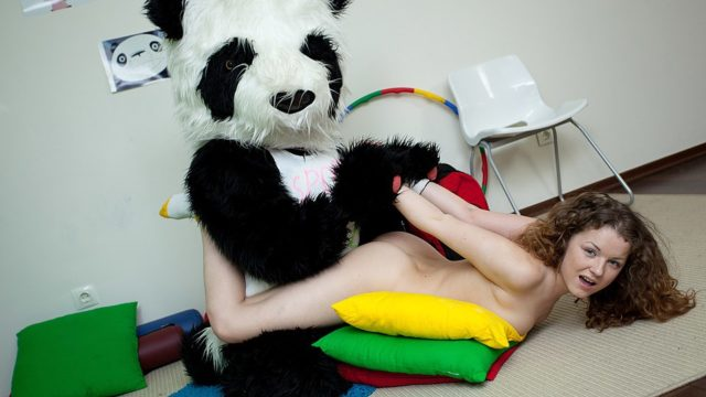 Sporty Wonderful Teenager Drills With Hilarious Panda