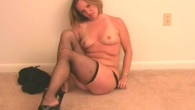 Good Towheaded Wifey Tessa Unclothing Ebony Lingeria And Taunting Us Along With Her Pantyhose