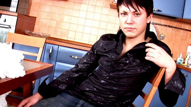 Sexually Aroused Dark Haired Homosexual Paul Unclothing Erotically For You Within The Kichen