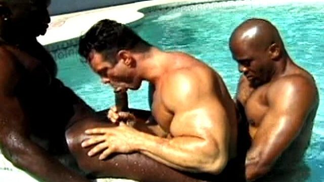 2 Naughty And Muscle Bodied Ebony Fags Penetrating A Milky Man Within The Pool