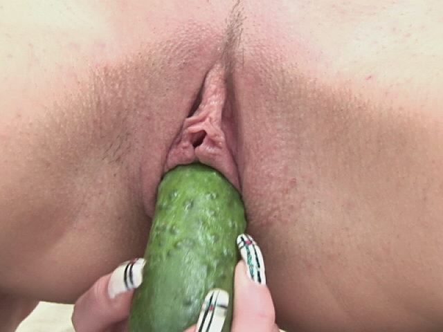 Interesting Blond Nubile Stunner Railing A Massive Cucumber Stiff