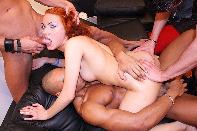 Rock-hard Gang Orgy With A Crimson Maid