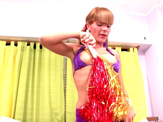 Ponytailed Red-haired She-creature Cheerleader Melina Dancing And Showcasing Off Her Diminutive Double-whammies