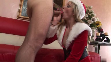 Platinum-blonde In Santa Attire Will Get Doggystyle Plumb At The Couch